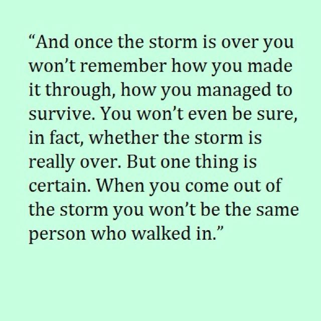 once the storm is over...