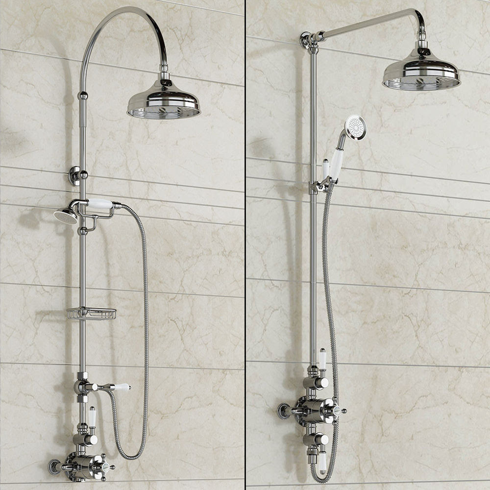 stunning types of shower heads with double water spray installed on tiling wall ideas for modern bathroom