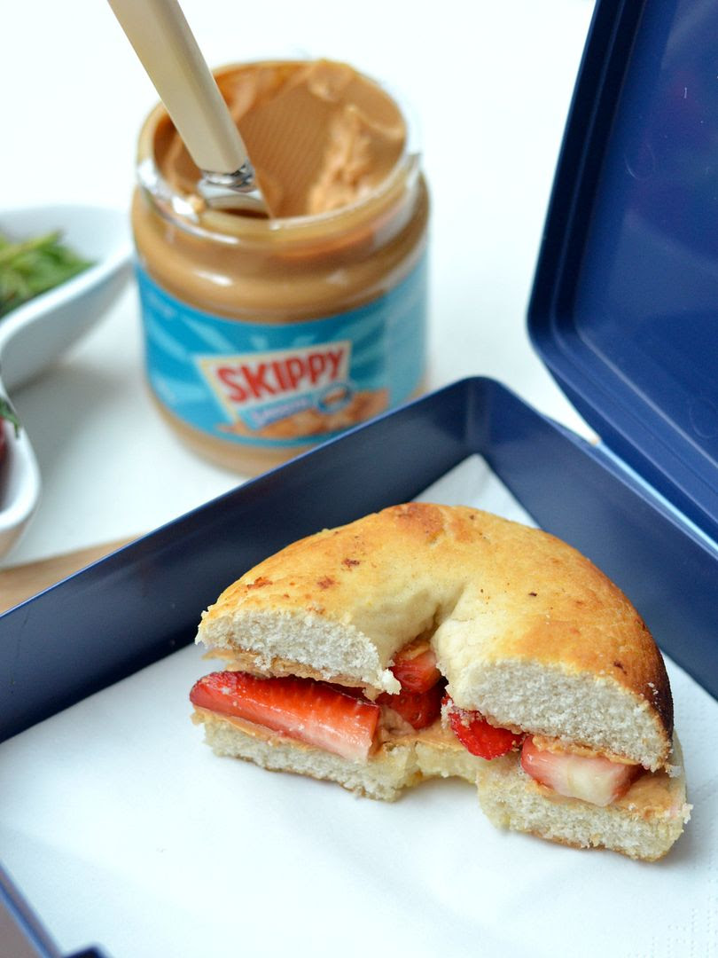 Peanut Butter & Strawberry Bagel
