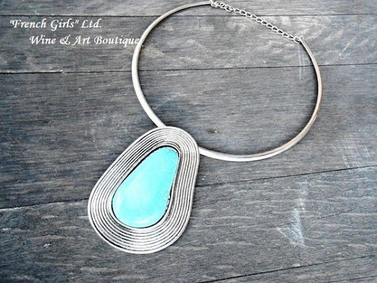 Metal Choker Turquoise Silver Plated Pendant by CateArtShop
