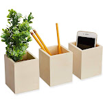 3-Pack Unfinished Wooden Pen And Pencil Holder Cups For Office Desk Organization And Diy Crafts, 3 X 3.5 Inches