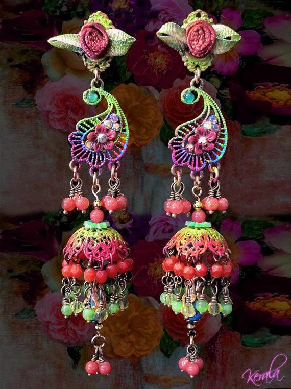 Colorful Floral Paisley Earrings,  East Indian Jhumka Earrings, Rainbow Beaded Chandelier, Fluorescent Colors, Bollywood Jewelry- MTO