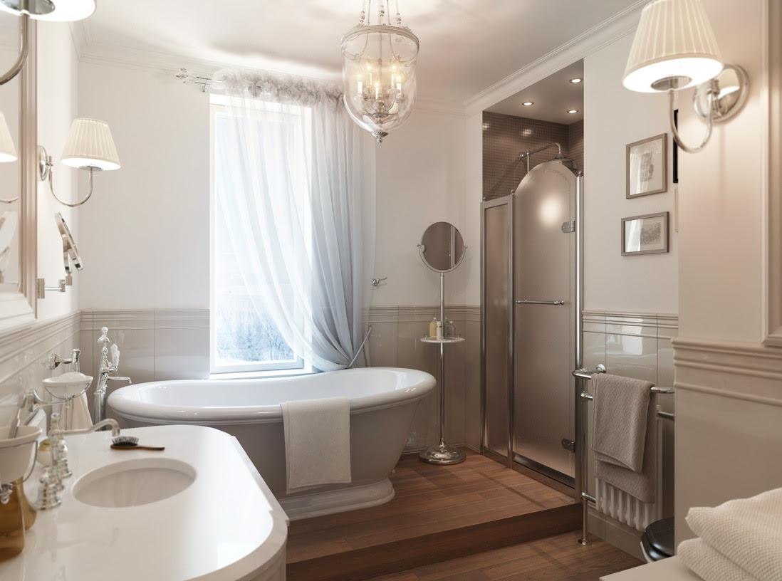 White  And Gray  Master Bathroom  Modern World Furnishing
