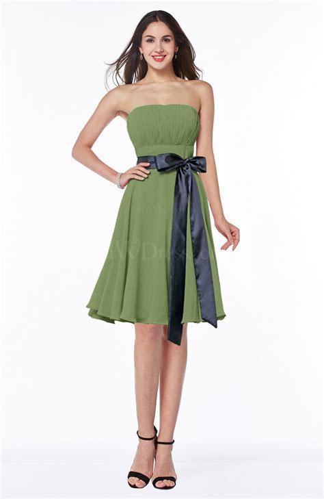 Moss Green Classic A line Strapless Knee Length Ruching