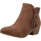 Nature Breeze Women's Round Toe Tassel Low Heel Ankle Boot (Taupe, 10 B(M) Us)