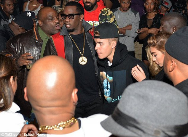 Swagger: Bieber and Jeffries hit up the club along with Diddy and were the centre of attention