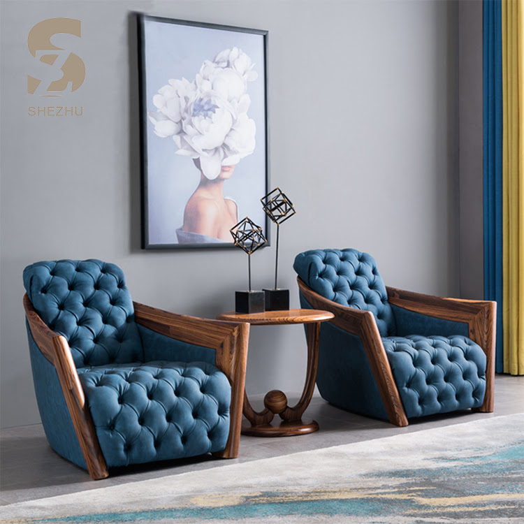 Leisure Fancy Leather Furniture Accent Wood Armrest Sofa Chair Modern Arm Relaxing Living Room Leather Blue Tufted Chairs View Arm Chairs Living Room Shezhu Product Details From Foshan She Zhu Furniture Co