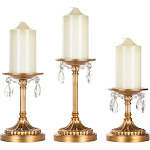 Amalfi Décor 3-Piece Antique Crystal-Draped Pillar Candle Holder Set (Gold) Stainless Steel Frame with Glass Crystals