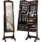 Mirrored Jewelry Cabinet Storage with Drawer and Led Lights-Coffee | Costway