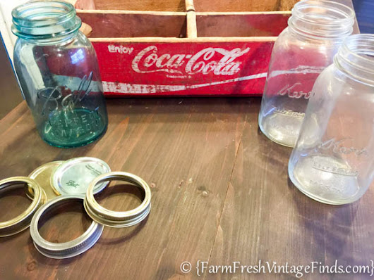 How to Make a Custom Light from a Coke Crate and Mason Jars - Farm Fresh Vintage Finds