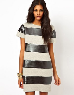 Image 1 of ASOS Shift Dress In Metallic Stripe
