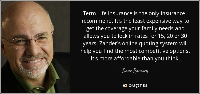 Dave Ramsey quote: Term Life Insurance is the only ...