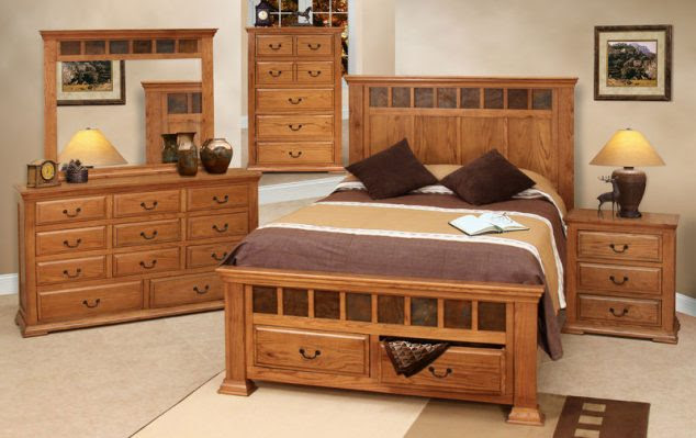 rustic oak bedroom furniture set 3 634x399 15 Unique Bedroom Furniture Set to Inspire You