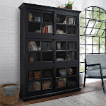 Charlotte Stackable BookCase with Glass Door, 3-pack, Black