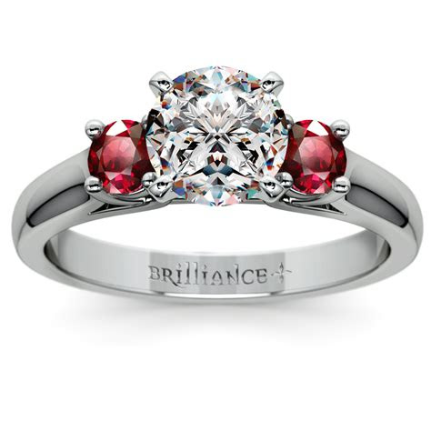ruby gemstone engagement ring  white gold