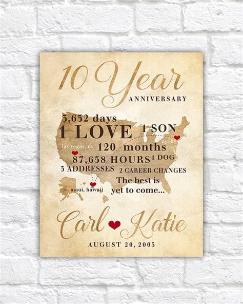 10 Year Anniversary Gift, Gift for Men, Women, His, Hers