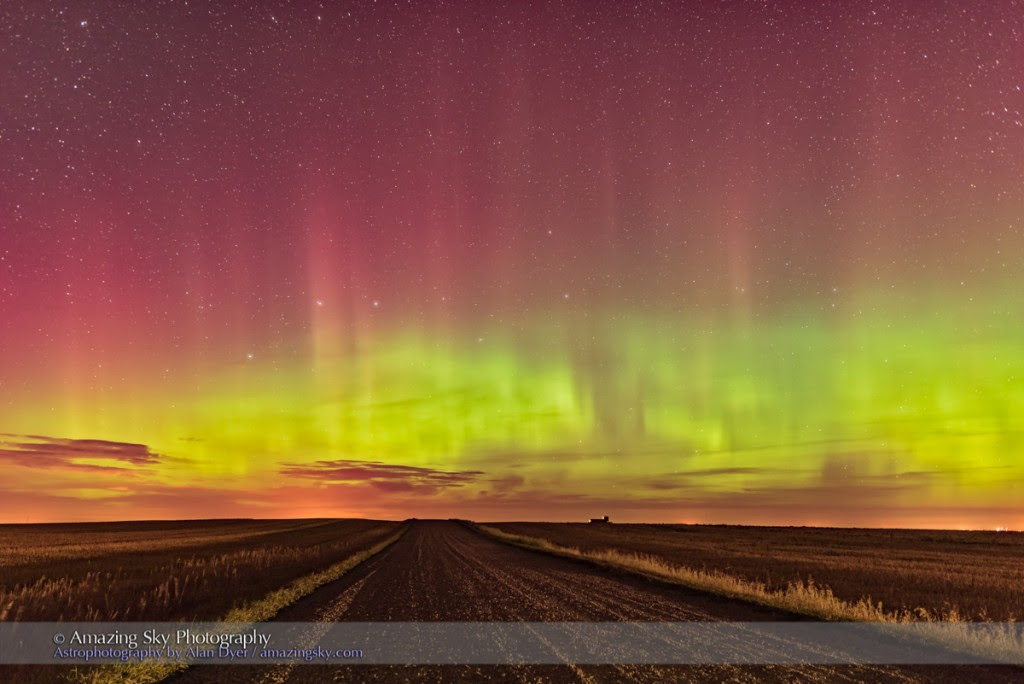 Aurora Down the Prairie Road