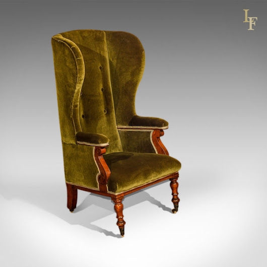 Victorian Wing Back Chair, Green Velvet c.1850