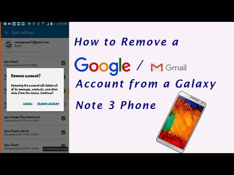 How to remove a Google / Gmail account from galaxy note 3 Phone