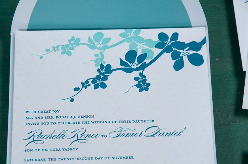 What really grabbed my attention on this invitation was the bright turquoise