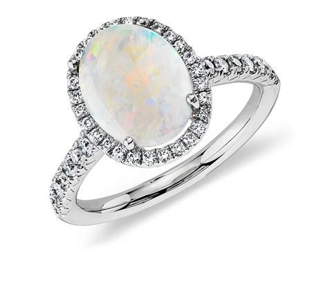 Opal and Diamond Ring in 18k White Gold (10x8mm)   Blue Nile
