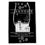 snowman with scarf and hat black and white art medium gift bag