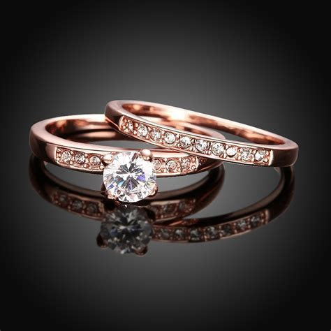 Romantic punk vintage rose gold color wedding couple Rings