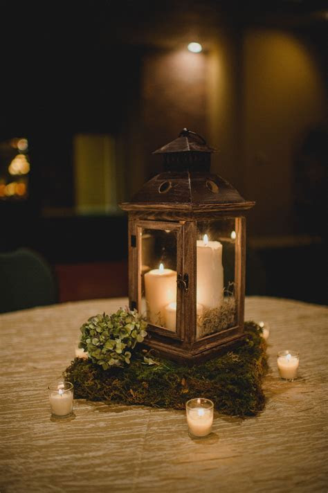 Wooden Lantern Centerpiece With Moss Stand   Woodsy Bridal