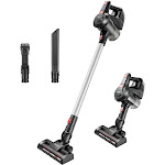FINETHER Vacuum Cleaner Cordless Stick with 5 Attachments Wall-Mount for Multiple Surfaces Lightweight & Corded Gray