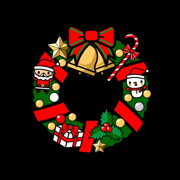 かわいいクリスマスリースの無料イラスト商用フリー オイデ43