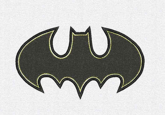 batman logo applique machine embroidery 3 sizes 4x4,5x7,6x10