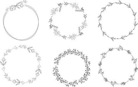 Blumenkranz Entwurfsskizze Elemente Schwarz Weiße Kreise
