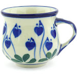 Polish Pottery Espresso Cup 2 oz Bleeding Heart Peacock Pattern by Ceramika Artystyczna