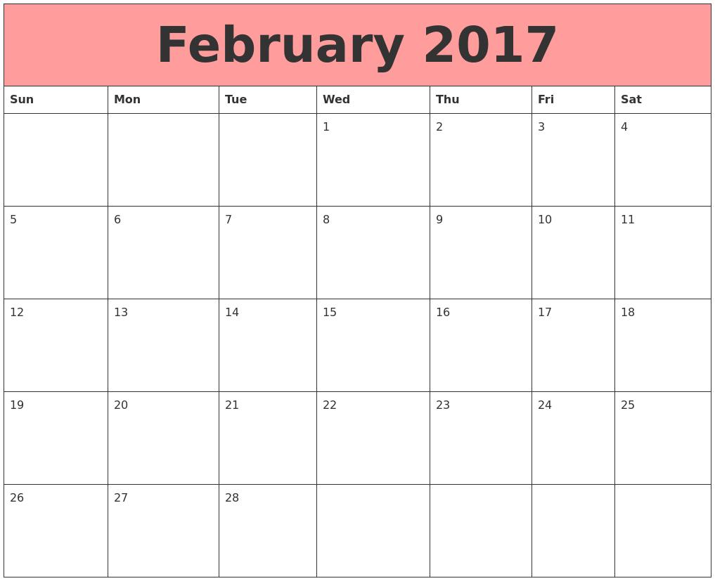 Blank-February-2017-Calendar- ...