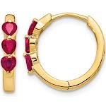 4/5 Carat (ctw) Natural Ruby Hoop Earrings in 14K Yellow Gold