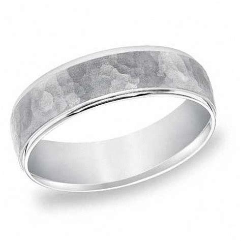 Men's 6.0mm Hammered Platinum Wedding Band   Wedding Bands