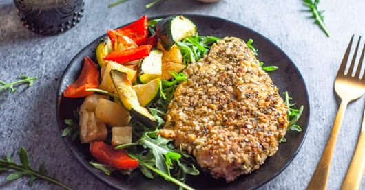 Pan Fried Quinoa and Herb Crusted Chicken with Roast Vegetables