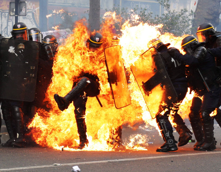 French CRS anti-riot police officers are