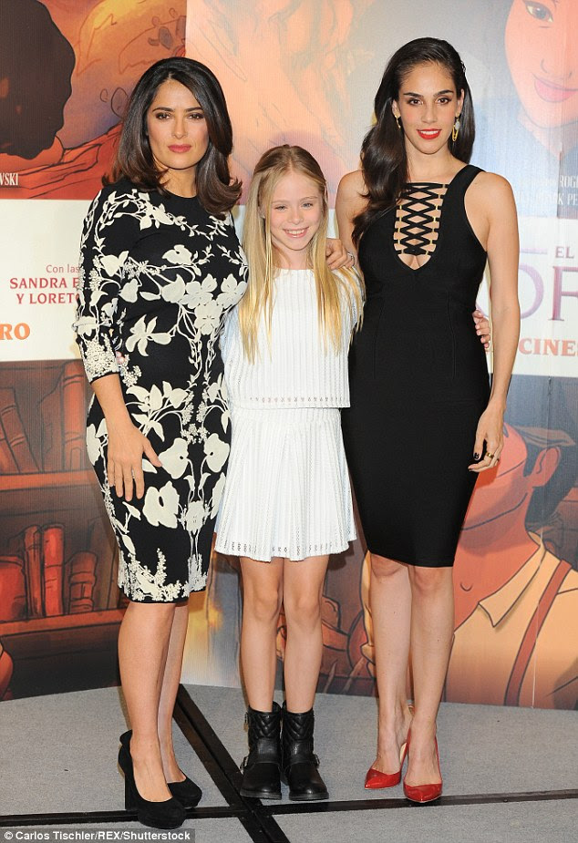 Picture perfect: Hayek shared the spotlight with her fellow actresses Loreto Peralta and Sandra Echeverría