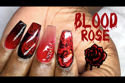 Acrylic Nails Coffin Red Ombre