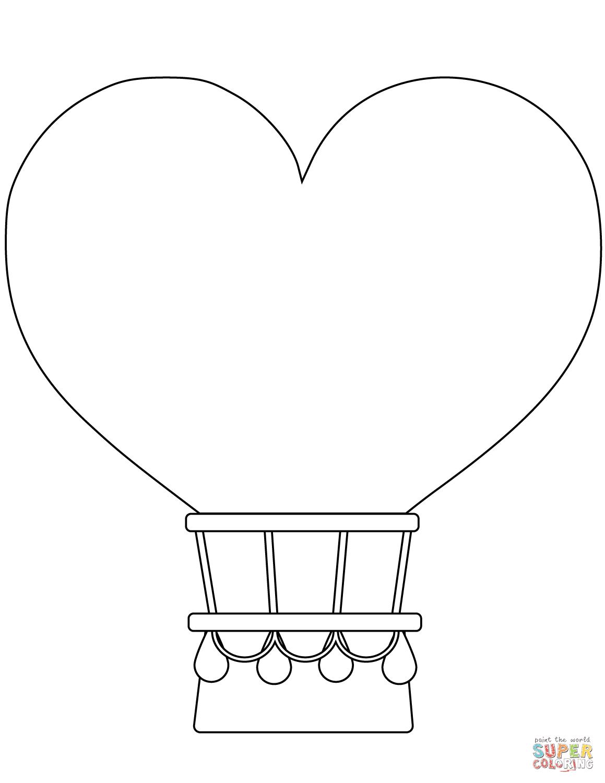 Heart-shaped Hot Air Balloon coloring page   Free ...