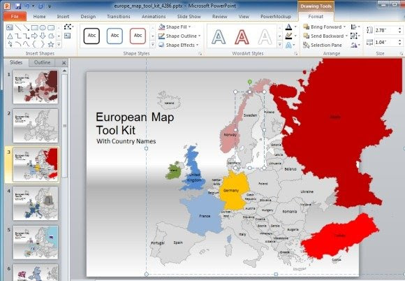 Europe Map Template For PowerPoint Presentations