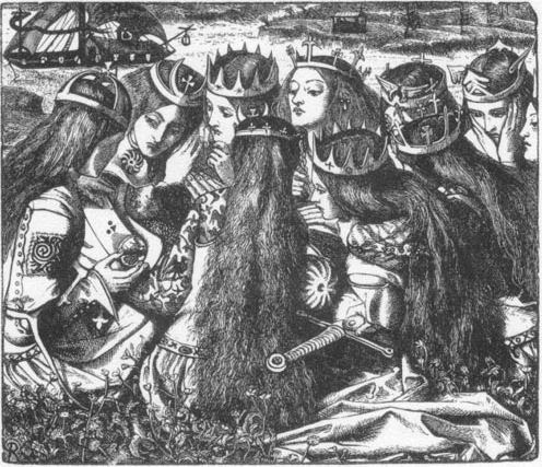 King Arthur and the Weeping Queens - Dante Gabriel Rossetti