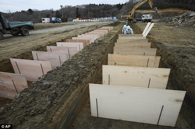Grim: Workers dig mass graves in Higashimatsushima City as the death toll for the earthquake and tsunami reached 18,000