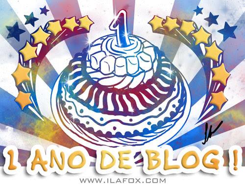Aniversário de 1 ano do blog, ilustração de bolo de aniversário by ila fox
