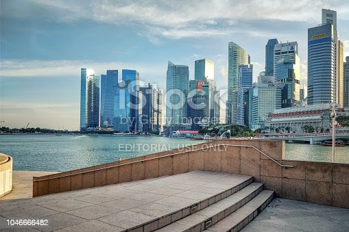 The majestic view at Singapore Business downtown. The tall...