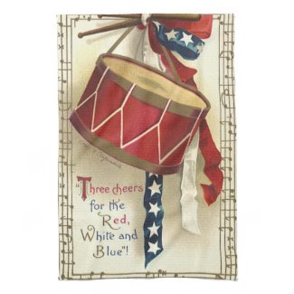 Vintage Patriotic, Drums with Musical Notes Kitchen Towel