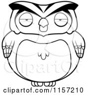 Cartoon of a Black And White Happy Birthday Owl Wearing a ...
