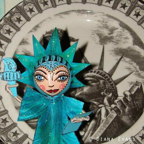 Liberty Lady wooden peg art doll