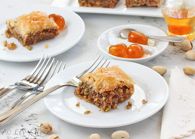 Baklava, Corfu, Greece, candied kumquats